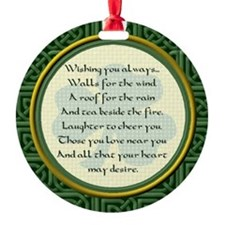 Irish Blessing Lge. Shamrock BackOrnament (Round)