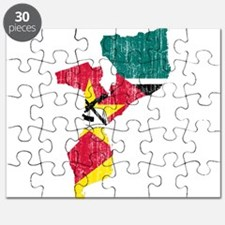 Mozambique Flag And Map Puzzle