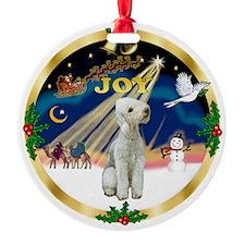 Gold rim Joy - Bedlington Ornament (Round)