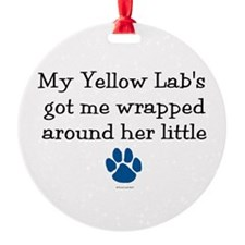 Wrapped Around Her Paw (Yellow Lab) Ornament (Roun