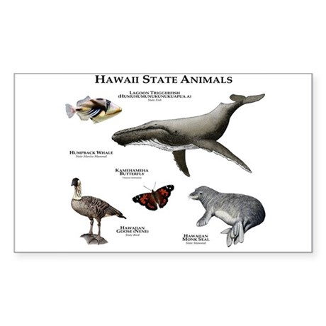 Hawaii State Animals Sticker (Rectangle)