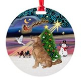 Christmas magic golden retriever Round Ornament
