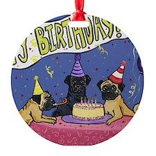 Happy Birthday Pugs Ornament (Round)
