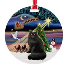 Xmas Magic & Persian cat (blk) Ornament (Round)