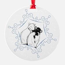 Rat Hug Snowflake Ornament (Round)