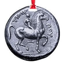 Horse Coin, Horse Rider. Ornament (Round)