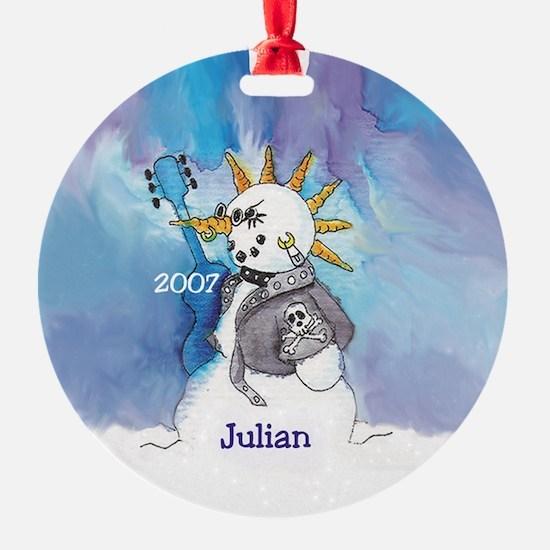 Punk Rocker Snowman Ornament Personalized Julian