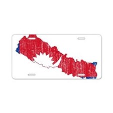Nepal Flag And Map Aluminum License Plate