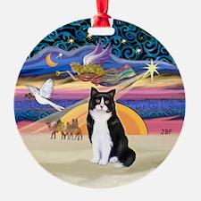 Xmas Star & BW Cat Ornament (Round)