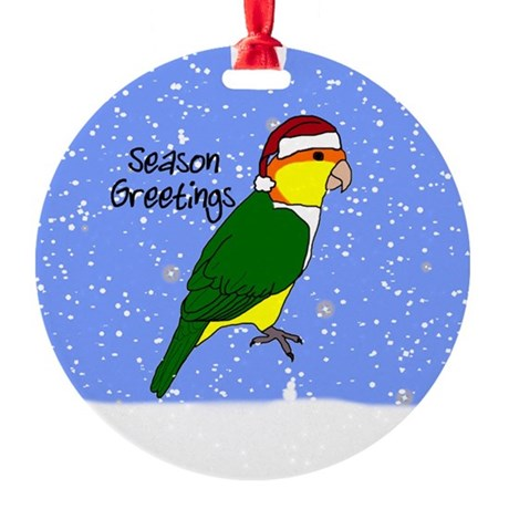 Santa White-Bellied Caique Ornament