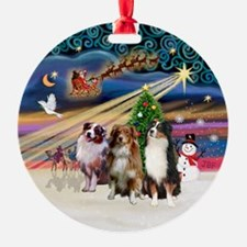 Xmas Magic - 3 Aussie Shepherds Ornament (Round)