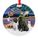 Newfoundland dog christmas Round Ornament