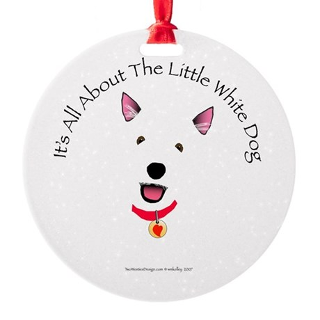 White Schnauzer Ornament (Round)