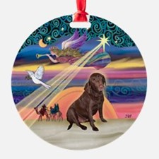 Xmas Star & Lab (choc) Ornament (Round)