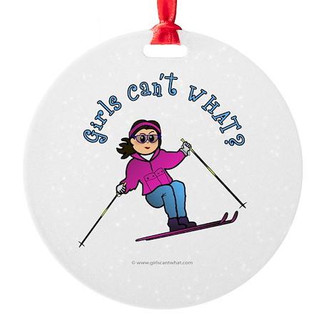 Light Snow Skier Ornament (Round)