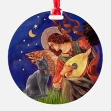 Mandolin Angel & Russian Blue Cat Ornament (Round)