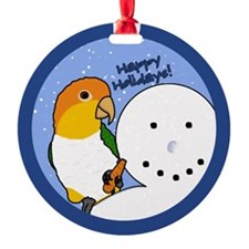 Snowman White Bellied Caique Christmas Ornament
