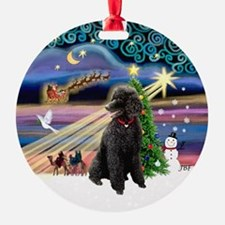 Xmas Magic - Black Poodle (ST) Ornament (Round)