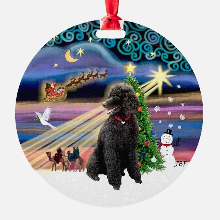 Xmas Magic - Black Poodle (ST) Ornament (Round)