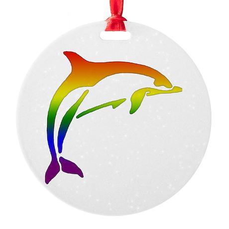 Rainbow Dolphin Ornament (Round)