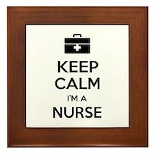 Keep calm I'm a nurse Framed Tile