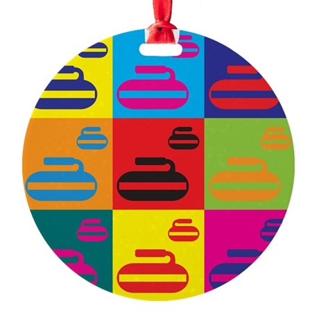 Curling Pop Art Ornament (Round)