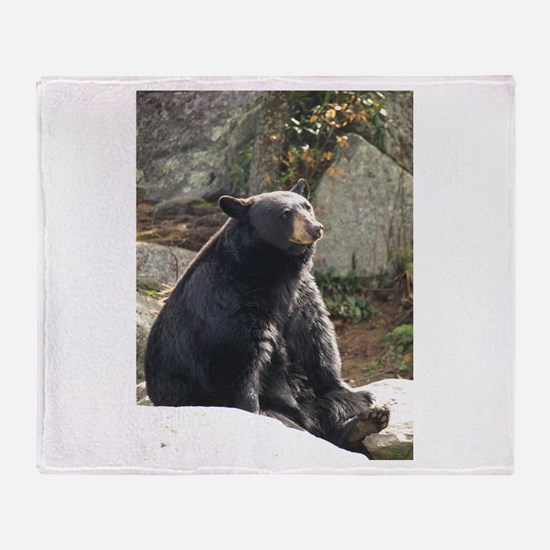 Black Bear Sitting Throw Blanket