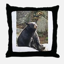 Black Bear Sitting Throw Pillow