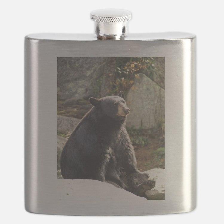 Black Bear Sitting Flask