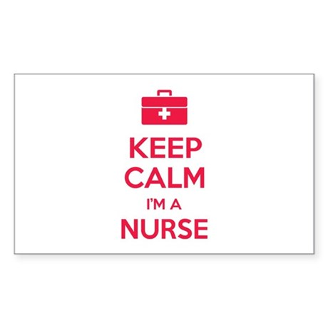 Keep calm I'm a nurse Sticker (Rectangle)