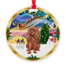 XmasMagic-Ruby Cavalier Ornament (Round)