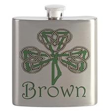 Brown Shamrock Flask