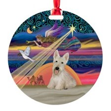 Xmas Star / Scottish Terrier (W) Ornament (Round)