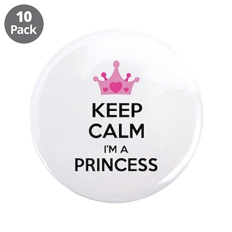 "Keep calm I'm a princess 3.5"" Button (10 pack)"
