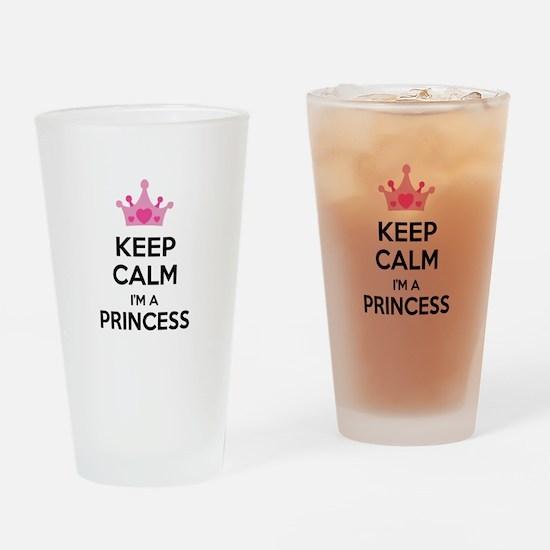 Keep calm I'm a princess Drinking Glass