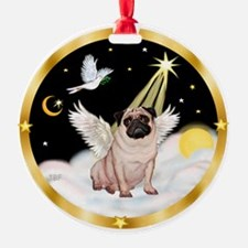 Pug Angel in Heaven (#1) Ornament (Round)