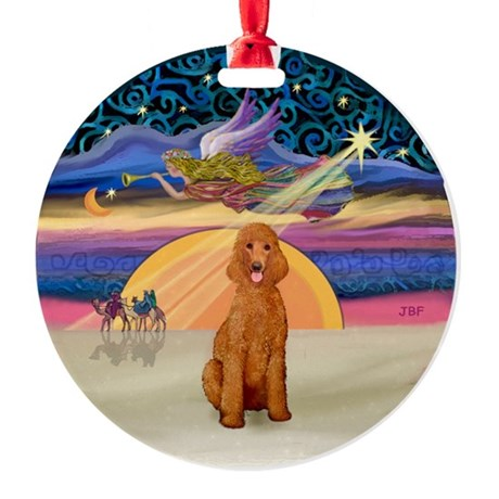 Xmas Star - Apricot Stan Poodle Ornament (Round)