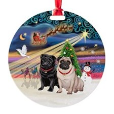 Xmas Magic - Black Pug + Fawn Pug Ornament (Round)