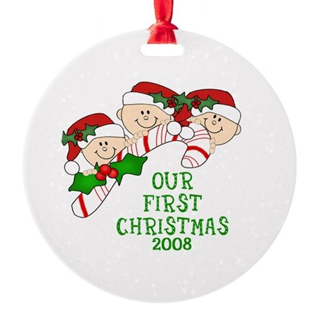 1st Christmas Triplets & Candy Cane Ornament