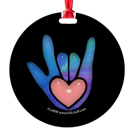 Blue/Pink Glass ILY Hand Black Ornament (Round)