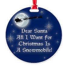 Santa Snowmobile Christmas Ornament (Round)