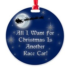 Another Race Car Christmas Ornament (Round)