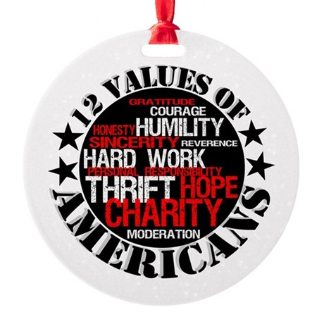 """""""12 Values of Americans """" Ornament (Round)"""