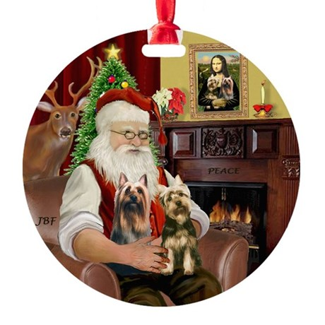 Santa's Two Silky Terriers Ornament (Round)