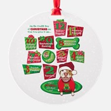 12 Dogs of Christmas Ornament (Round)