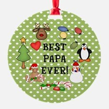 Best Papa Ever Christmas Ornament (Round)