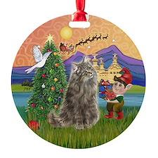 Xmas Fantasy Norwegian Forest cat Ornament (Round)