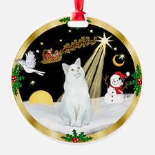 Night Flight & white cat (sh) Ornament (Round)