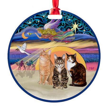Xmas Star - Three Cats Ornament (Round)