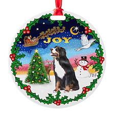 Joy Wreath & Bernese Mt. Dog Ornament (Round)